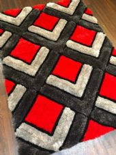 WOVEN RUGS HAND CARVED APPROX 6X4FT 120X170CM GREY-RED TOP QUALITY 3D RUGS